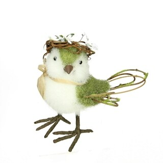 """6.25"""" Green White and Brown Decorative Standing Spring Bird Table Top Figure"""