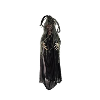 "76"" Black Brown and Gray Touch Activated Lighted Tree Man Animated Halloween Decoration with Sound"