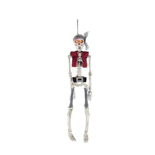 """19.75"""" Lighted Pirate Skeleton with Vest and Belt Hanging Halloween Decoration"""