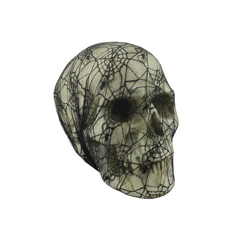 """15.5"""" Spooky Black Spider Web Lace Covered Skull Halloween Decoration"""