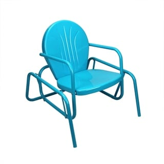 Tulip-style Turquoise Blue Metal Retro Outdoor Glider