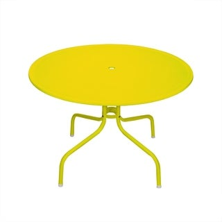 Yellow Powder-coated Metal 39.25-inch Retro Tulip Outdoor Dining Table