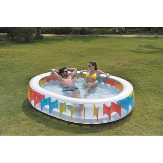 "98"" Elliptical Shaped Inflatable Pool with Multi-Colored Panels"