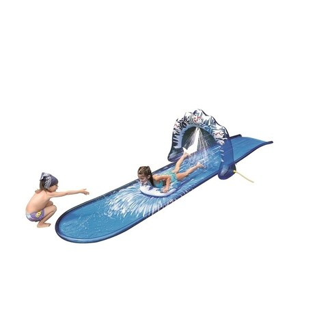 """196"""" Blue and White """"Ice Breaker"""" Inflatable Ground Level Water Slide"""