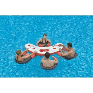"""67"""" Inflatable Red White and Black Floating Swimming Pool Bar Set"""
