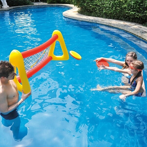 """51"""" Red and Yellow Inflatable Swimming Pool Water Sports Flying Disc Game Set"""