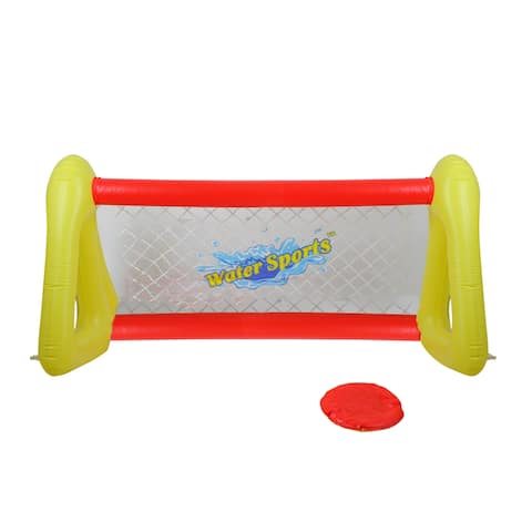 "51"" Red and Yellow Inflatable Swimming Pool Water Sports Frisbee Game Set - 51 inches"