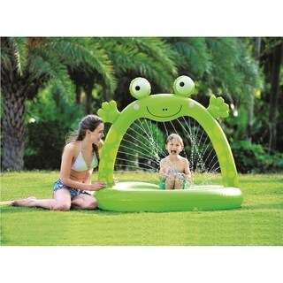 """51"""" Green Inflatable Spotted Happy Frog Children's Spray Pool"""