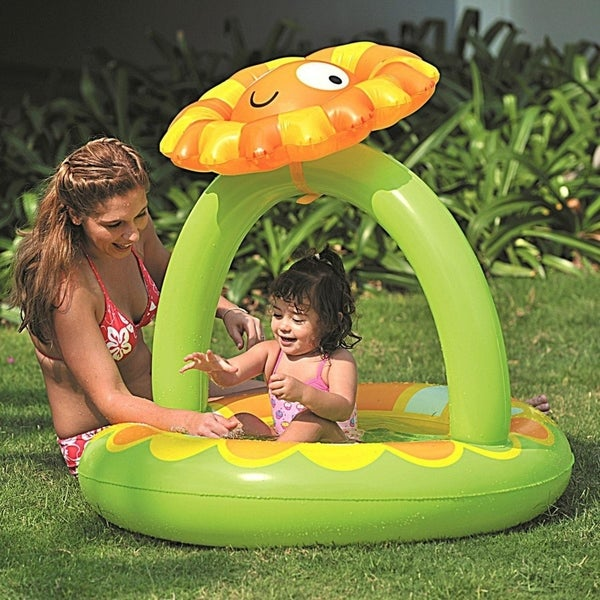 "39"" Inflatable Baby Pool with Adjustable Sunflower Sun Shade"