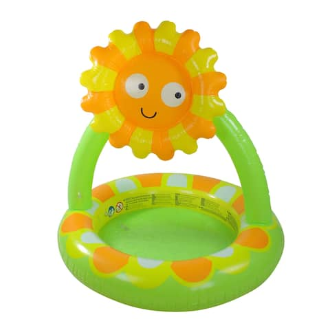 "39"" Inflatable Baby Pool with Adjustable Sunflower Sun Shade - 39 inches"