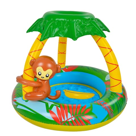"""40"""" Inflatable Baby Swimming Pool with Palm Tree Sun Shade and Monkey - 40 inches"""