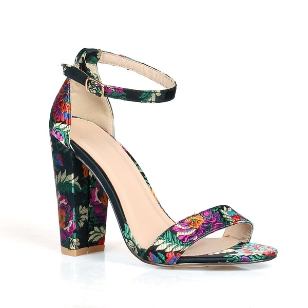 ae990442ba0 Panda Larissa Chunky Heel Women  x27 s Floral Print High Heel Sandals