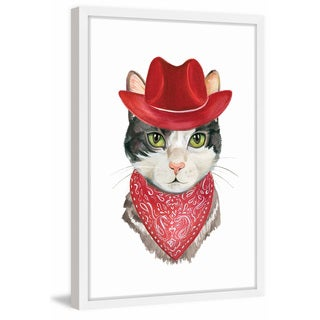 'Cowboy Cat' Framed Painting Print