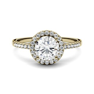 Charles & Colvard 14k Yellow Gold 1 1/3ct DEW Forever One Near-Colorless Moissanite Halo Engagement Ring