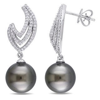 Miadora Signature Collection 14k White Gold Tahitian Cultured Pearl 3/8ct TDW Diamond Flame Drop Earrings (10-10.5 mm)