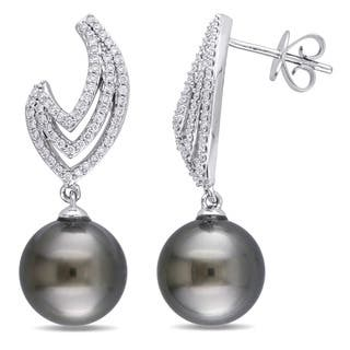 Miadora Signature Collection 14k White Gold Tahitian Cultured Pearl 3/8ct TDW Diamond Flame Drop Earrings (10-10.5 mm)|https://ak1.ostkcdn.com/images/products/17015421/P23295594.jpg?impolicy=medium