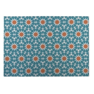 Kavka Designs Blue/ Orange Sun Burst 2' x 3' Indoor/ Outdoor Floor Mat