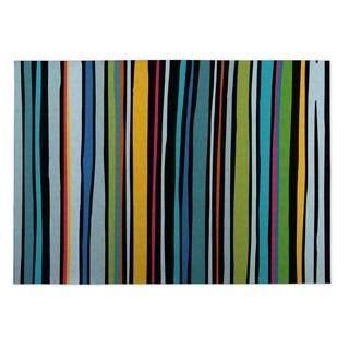 Kavka Designs Blue/ Yellow/ Red Striped 2' x 3' Indoor/ Outdoor Floor Mat