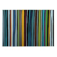 Kavka Designs Blue/ Yellow/ Red Striped 2' x 3' Indoor/ Outdoor Floor Mat