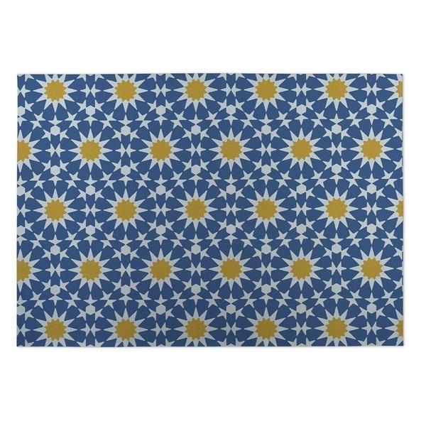 Kavka Designs Blue/ Yellow Sun Burst 2' x 3' Indoor/ Outdoor Floor Mat