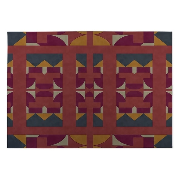 Kavka Designs Red/ Gold/ Purple Deco 2' x 3' Indoor/ Outdoor Floor Mat