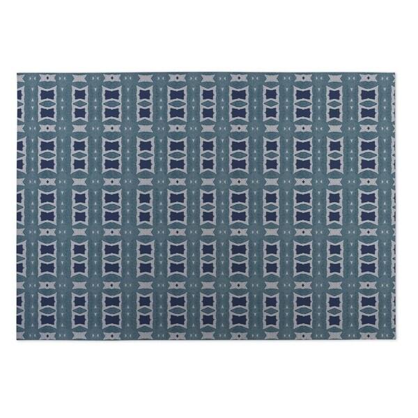 Kavka Designs Blue Crossroads 2' x 3' Indoor/ Outdoor Floor Mat