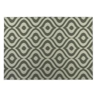 Kavka Designs Green/ Ivory Ikat Ogee 2' x 3' Indoor/ Outdoor Floor Mat