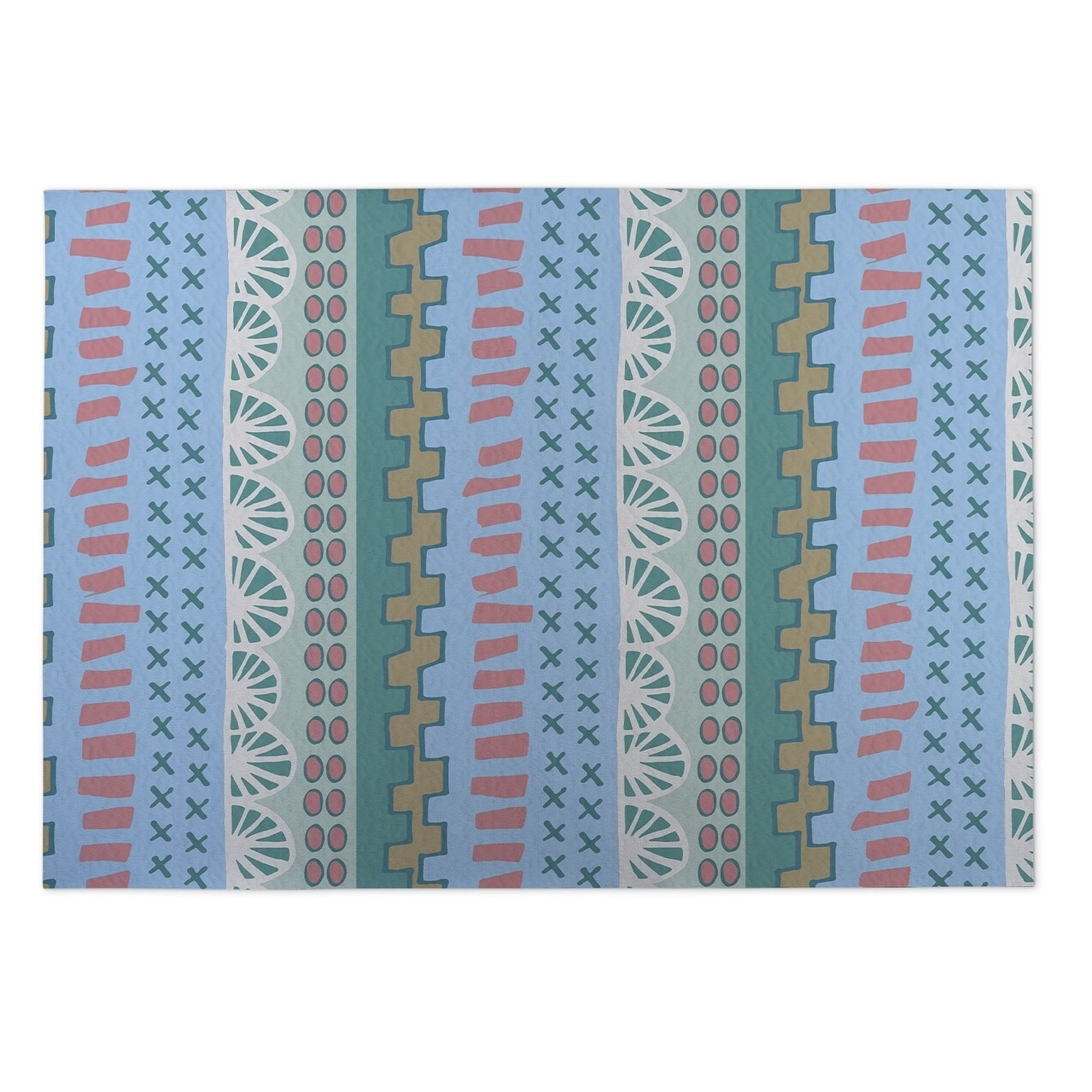 Kavka Designs Blue/ Green Village Road 2 x 3 Indoor/ Outdoor Floor Mat (Blue - N/A - Bohemian & Eclectic)