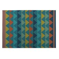 Kavka Designs Blue/ Yellow/ Orange White Caps 2' x 3' Indoor/ Outdoor Floor Mat