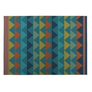 Kavka Designs Blue/ Yellow/ Orange White Caps 2' x 3' Indoor/ Outdoor Floor Mat