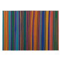 Kavka Designs Orange/ Blue/ Yellow/ Green Striped 2' x 3' Indoor/ Outdoor Floor Mat