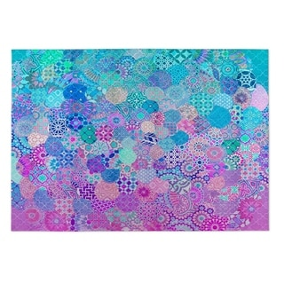 Kavka Designs Blue/ Purple/ Pink Moroccan dream 2' x 3' Indoor/ Outdoor Floor Mat