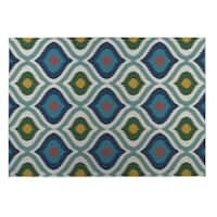 Kavka Designs Blue/ Pink/ Yellow/ Green Ikat Ogee 2' x 3' Indoor/ Outdoor Floor Mat