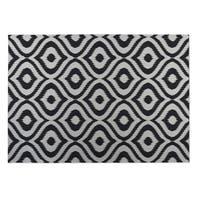 Kavka Designs Black/ Ivory Ikat Ogee 2' x 3' Indoor/ Outdoor Floor Mat