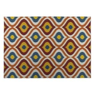Kavka Designs Gold/ Red/ Orange/ Blue Ikat Ogee 2' x 3' Indoor/ Outdoor Floor Mat