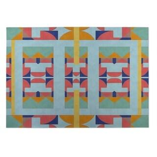 Kavka Designs Blue/ Purple/ Orange/ Yellow Deco 2' x 3' Indoor/ Outdoor Floor Mat