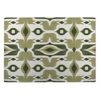 Kavka Designs Ivory/ Green Cosmos 2' x 3' Indoor/ Outdoor Floor Mat