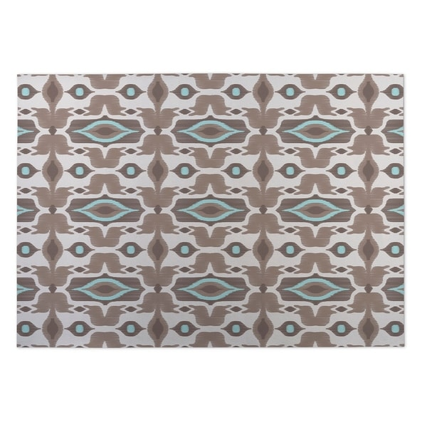 Kavka Designs Ivory/ Taupe/ Turquoise Mojave 2' x 3' Indoor/ Outdoor Floor Mat