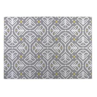 Kavka Designs White/ Grey/ Yellow Kissing Tulips 2' x 3' Indoor/ Outdoor Floor Mat