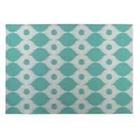 Kavka Designs Ivory/ Turquoise Forest Rain 2' x 3' Indoor/ Outdoor Floor Mat