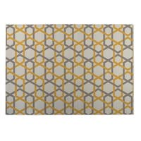 Kavka Designs Ivory/ Gold/ Grey Sliding Hexagons 2' x 3' Indoor/ Outdoor Floor Mat
