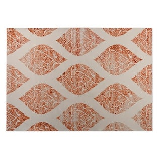 Kavka Designs Ivory/ Orange Dancing Damasks 2' x 3' Indoor/ Outdoor Floor Mat