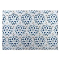 Kavka Designs Blue/ White/ Grey Jardin 2' x 3' Indoor/ Outdoor Floor Mat
