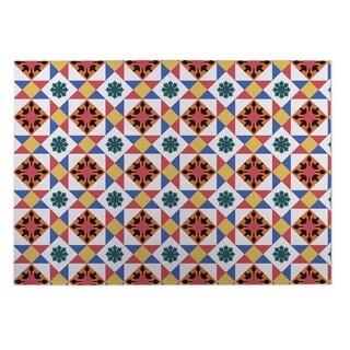 Kavka Designs Red/ Gold/ Blue Diamond Tiles 2' x 3' Indoor/ Outdoor Floor Mat