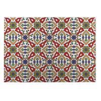 Kavka Designs Red/ Purple/ Gold Kaleidoscope 2' x 3' Indoor/ Outdoor Floor Mat