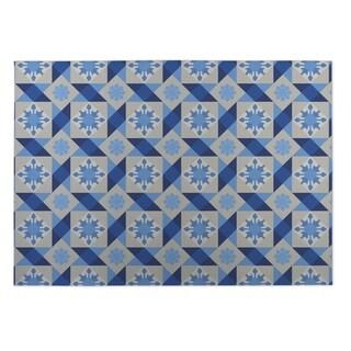 Kavka Designs Blue/ Grey Diamond Tiles 2' x 3' Indoor/ Outdoor Floor Mat