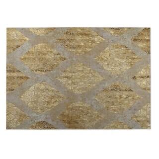 Kavka Designs Taupe/ Gold Ascent 2' x 3' Indoor/ Outdoor Floor Mat