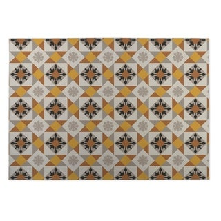 Kavka Designs Brown/ Gold/ Grey Diamond Tiles 2' x 3' Indoor/ Outdoor Floor Mat