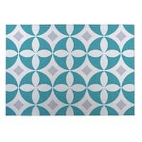 Kavka Designs Blue/ Grey Circled Lily 2' x 3' Indoor/ Outdoor Floor Mat