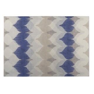 Kavka Designs Ivory/ Tan/ Blue Chevron Motion 2' x 3' Indoor/ Outdoor Floor Mat